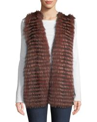 Neiman Marcus - Luxury Cashmere Vest W/ Fox Fur Collar - Lyst