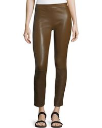 The Row - Dorcarr Split-cuffs Fitted Lamb Leather Pants - Lyst