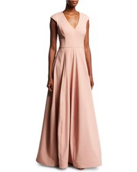 Halston - V-neck Cap-sleeve Silk Faille Evening Gown - Lyst