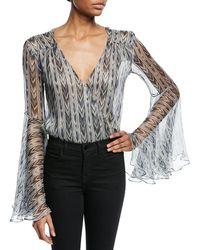 Caroline Constas - Bell-sleeve Chiffon Printed Metallic Bodysuit - Lyst