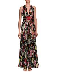 Dolce & Gabbana - Halter-neck Floral-print Chiffon Evening Gown W/ Heart Patch - Lyst