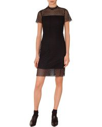 Akris Punto - Circle Lace Stand-collar Short-sleeve Sheath Dress - Lyst