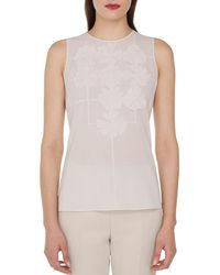 Akris - Sleeveless Round-neck Floral-embellished Cotton Voile Blouse - Lyst