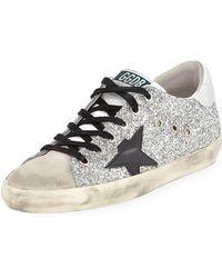 Golden Goose Deluxe Brand - Superstar Glitter Fabric & Suede Low-top Sneakers - Lyst