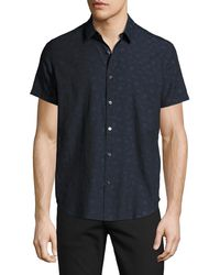 Theory | Zack S. Geo-jacquard Short-sleeve Shirt | Lyst