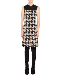 Akris Punto - Houndstooth & Leather Shift Dress - Lyst