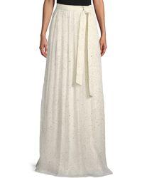 St. John - Flocked Glitter Crinkle Chiffon Floor-length Skirt - Lyst