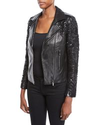 Nour Hammour - Sophia Zip-front Lambskin Leather Jacket W/ Studded Embroidered Sleeves - Lyst
