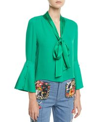 Alice + Olivia | Meredith Tie-neck Bell-sleeve Button-front Silk Blouse | Lyst