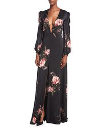 Sachin & Babi - Meena Plunging-neck Floral-print Silk Evening Gown - Lyst