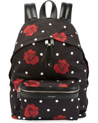 Saint Laurent - Rose-print Satin City Backpack - Lyst