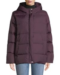 Eileen Fisher - Quilted Nylon Hooded Down Puffer Coat - Lyst