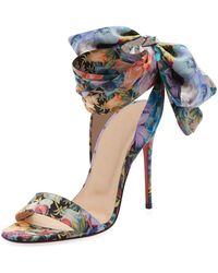Christian Louboutin - Sandale Du Desert Flower Power Satin Red Sole Sandals - Lyst