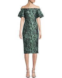 THEIA - Couture Off The Shoulder Cocktail Dress - Lyst
