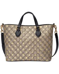396df6726dd5 Lyst - Gucci Embroidered Gg Supreme Tote in Natural