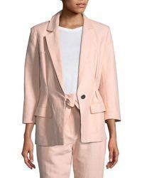 Joie - Lian One-button Cotton-linen Blazer Jacket - Lyst