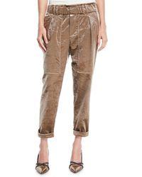Brunello Cucinelli - Velvet Straight-leg Pull-on Utility Pants - Lyst