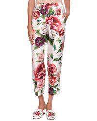 Dolce & Gabbana - Rose Peony Pajama Silk Pants - Lyst