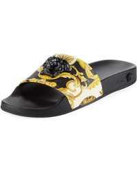 774e4f52843 Lyst - Versace Medusa Crystal Slide Sandal in Metallic
