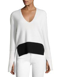 Narciso Rodriguez - Mixed-knit V-neck Sweater - Lyst