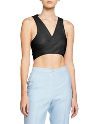 Nellie Partow - Athena Leather Tie-back Cropped Vest - Lyst