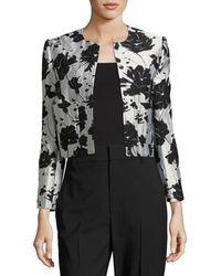 Monique Lhuillier - Floral Cloque Jacquard Cropped Jacket - Lyst
