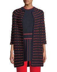 Lela Rose - 3/4-sleeve Dotted Crochet Knit Cardigan - Lyst