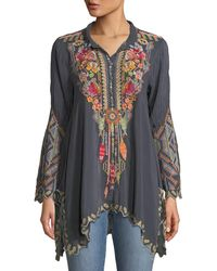 Johnny Was - Festival Long-sleeve Embroidered Georgette Tunic Plus Size - Lyst