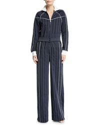 Valentino - Long-sleeve Zip-front Striped Techno Jersey Wide-leg Jumpsuit - Lyst