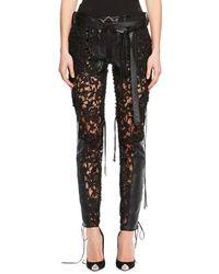 Saint Laurent - Leather & Lace-paneled Pants - Lyst