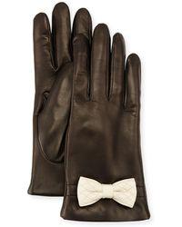 Portolano - Leather Bow-cuff Gloves - Lyst