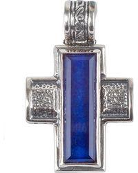 Konstantino - Men's Hephaestus Sterling Silver & Lapis Cross Pendant - Lyst