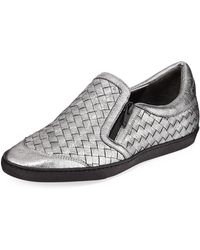 Sesto Meucci - Falcon Woven Metallic Leather Sneakers - Lyst