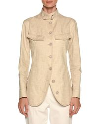 Giorgio Armani - Stand-collar Button-front Coated Linen Utility Jacket - Lyst