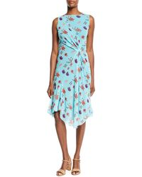 Fuzzi - Floral Tulle Gathered Dress - Lyst