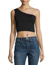 Helmut Lang - One-shoulder Cropped Stretch-knit Bra Top Black - Lyst