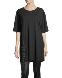 Kendall + Kylie | Lace-up Crewneck Oversized Cotton Tee | Lyst
