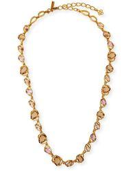 Oscar de la Renta Crystal Long Necklace - Metallic