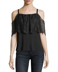Bailey 44 - Montage Cold-shoulder Top With Lace Overlay - Lyst