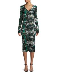 Diane von Furstenberg - Long-sleeve V-neck Ruched Mesh Midi Dress - Lyst