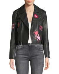 Alice + Olivia - Keith Haring X Cody Cropped Leather Moto Jacket - Lyst