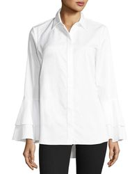 Go> By Go Silk - Ruffle-sleeve Cotton Shirt - Lyst