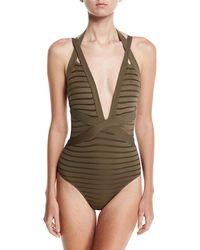Jets by Jessika Allen - Parallels Crisscross Halter One-piece Swimsuit - Lyst