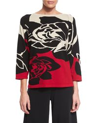 Joan Vass - Rose Intarisia Sweater - Lyst