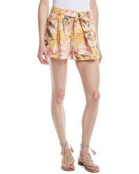Joie - Jaklynn Leaf-print Pleated Linen Shorts - Lyst