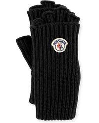 Moncler - Guanti Logo Patch Fingerless Gloves - Lyst