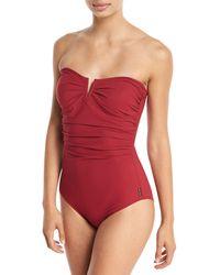 Shan - Les Essentiels Bandeau Notched One-piece Swimsuit - Lyst