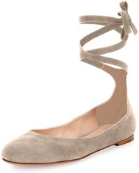 Gianvito Rossi - Carla Suede Lace-up Flat - Lyst