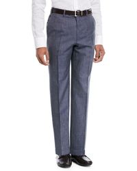 Brioni - Heathered Wool/silk Flat-front Dress Pants - Lyst