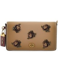 COACH - Dinky Rose-applique Leather Crossbody Bag - Lyst